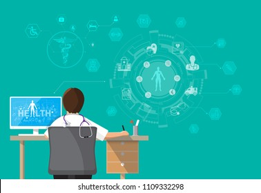 Infographics Health, concept Doctor sitting at office desk and working on his computer with medical equipment all around, back view Vector illustration