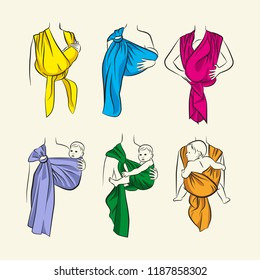 Infographics, how to wear a scarf sling. The correct position of the baby in a sling. The stylized image of mother and baby in her arms. Vector drawing sling scarf. Using a sling for child care.