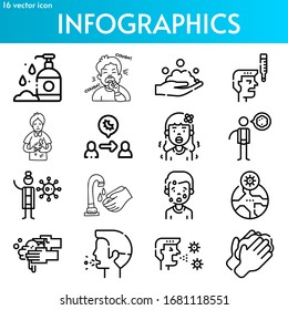 infographics icon coronavirus theme set. Included icons as hand wash, cough, washing hands, fever, nausea, virus transmission, ncov, pandemia, sneezing and more