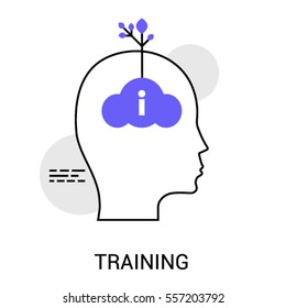 Infographics icon of Training or New Idea Generation. Sprout growing out of the head. Modern thin line icon. Premium quality vector illustration concept. Flat design web graphics elements.