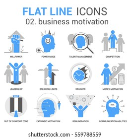Infographics icons collection of business motivation, human personality, thinking traits, mind abilities. Thin line icons set. Premium quality vector. Flat design human pictogram pack.