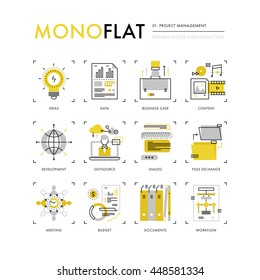 Infographics icons collection of project management, business data and documents workflow. Modern thin line icons set. Premium quality vector illustration concept. Flat design web graphics elements.