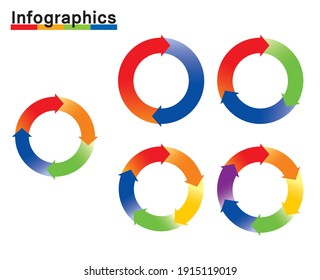Infographics illustration set of charts. Chart of split circles and arrows, PDCA, business, process management.