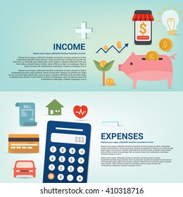 Infographics Income and expenses monthly, vector illustration