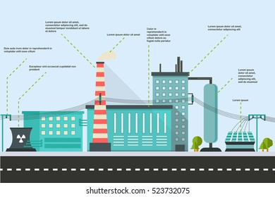 Infographics of Industrial factory buildings with electricity line
