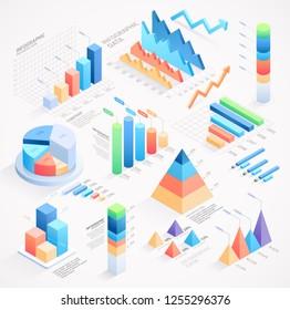 Infographics isometric elements vector illustrations.