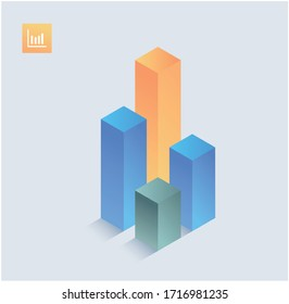 Infographics isometric Graphics elements. Line diagramm icons vector illustrations. Chart symbol