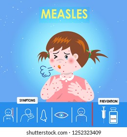 Infographics of Measles. Kid girl Measles with cough  and red skin, Health care cartoon character. Prevention and symptom of disease. Cause of infection, diagnostics. Vector illustration