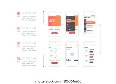 Infographics. Mobile application interface. Ux ui kit with text and numbers. Interface design for e-commerce.