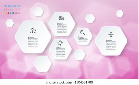 infographics on purple bokeh with hexagon shape.