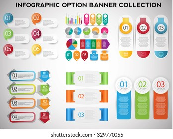 Infographics option number banners. vector collection.