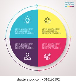 Infographics, pie chart, graph, diagram with 4 steps, options, parts, processes with arrows. Vector business template for presentation and training.