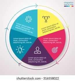 Infographics, pie chart, graph, diagram with 5 steps, options, parts, processes with arrows. Vector business template for presentation and training.