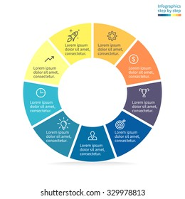 Infographics, pie chart, graph, diagram with 9 steps, options, parts, processes. Vector business template in blue and yellow for presentation.