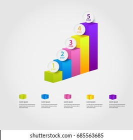 Infographics pillars of different colors