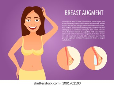 Infographics of plastic operations. Breast Augmentation. Cute happy girl.