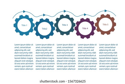 Infographics presentation template with gear cogs or cogwheels. Infographics design with 5 five steps. Five gear cogs demonstrate business process flow. Flat vector illustration