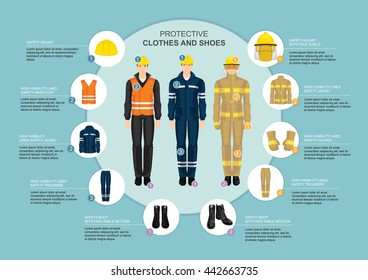 Infographics with professional uniform for hard-working people. Safety clothes and helmet.