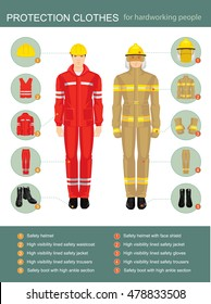 Info-graphics with professional uniform for hard-working people. Safety clothes and helmet.