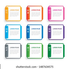 Infographics rectangle paper index with 9 data template. Vector illustration abstract background. Can be used for workflow layout, business step, banner, web design.
