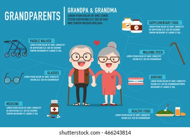 Infographics Retired elderly senior age couple in creative flat vector character design | Grandpa and grandma standing full length smiling