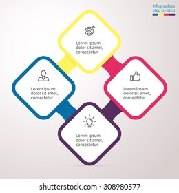Infographics with rounded squares. Element of chart, graph, diagram with 4 options, parts, processes. Vector business template for presentation and training.