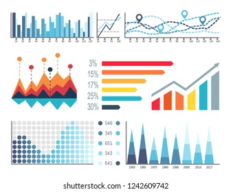 Infographics and scales with location signs set vector. Graphics charts, colorful visualization of data, statistics and analyze results in flowcharts