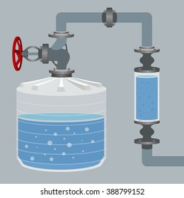 Infographics scheme with liquid, water tank and pipes. Vector illustration