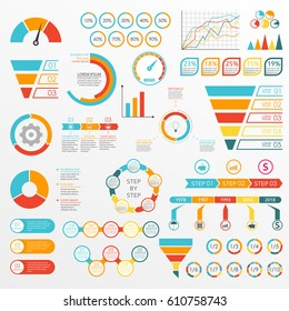 Infographics set with charts, graphs, funnel, arrows, diagram, gauge, speedometer. Circle chart with percentage and pie chart with segments. Vector illustration.