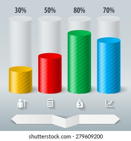 Infographics set color cylinder. Schedule Business Report