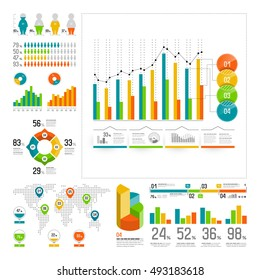 Infographics set with color elements. Vector information graphics