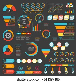 Infographics set. Funnel, chart, graph, arrows, diagram, gauge, speedometer. Infographic with 3 and 5 steps or levels. Circle chart with percentage and pie chart with sections. Vector illustration.