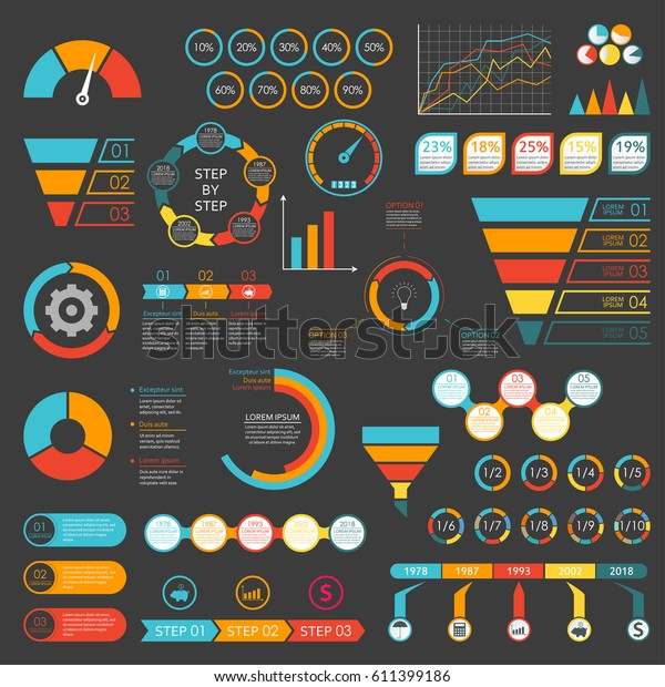 Infographics Set Funnel Chart Graph Arrows Stock Vector
