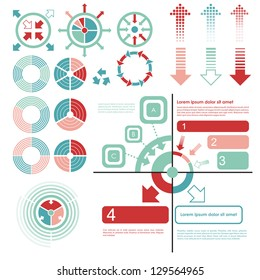 Infographics set and Information. Graphics vector. Pie charts and arrows