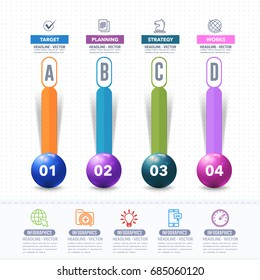 Infographics Shapes Illustration, Multicolored Stats Arrows Template with Business Strategy Flat Web Icons