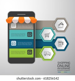 Infographics Shopping online business conceptual with mobile flat style. Vector illustration. Can be used for workflow layout template, banner, diagram, number options, web design, infographics