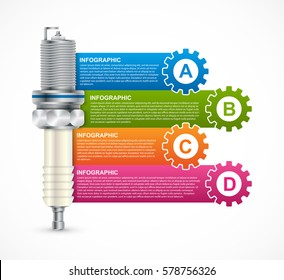 Infographics with spark plugs for presentations and brochures.
