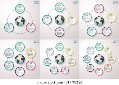 Infographics step by step with element in the center. Charts, graphs, diagrams with 3, 4, 5, 6, 7, 8 steps, options, parts, processes. Vector template for presentation and training.