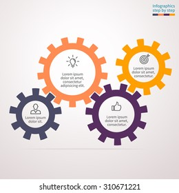 Infographics step by step in the form of gears. Abstract element of chart, graph, diagram with 4 options, parts, processes. Vector business template for presentation and training.