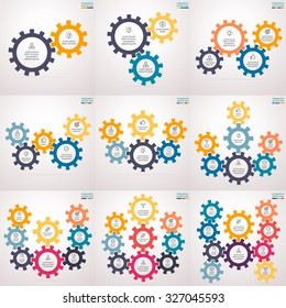 Infographics step by step in the form of gears. Set of charts, graphs, diagrams with 2, 3, 4, 5, 6, 7, 8, 9, 10 steps, options, parts, processes. Vector business templates for presentation.
