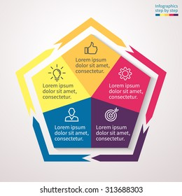 Infographics step by step in the form of a pentagon with acute angles and external arrows. Abstract chart, graph, diagram with 5 steps, options, parts, processes. Vector template for presentation.
