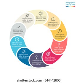 Infographics step by step. Pie chart, graph, diagram with 10 steps, options, parts, processes with rounded sections. Vector business template in orange, blue and cream for presentation and training.