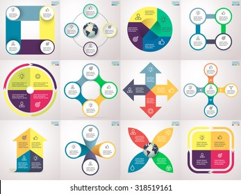 Infographics step by step. Set 3. Charts, graphs, diagrams with 4 steps, options, parts, processes, directions. Vector business templates for presentation and training.
