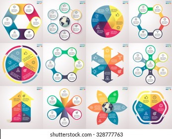 Infographics step by step. Set 3. Charts, graphs, diagrams with 6 steps, options, parts, processes, directions. Vector business templates for presentation and training.