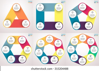 Infographics step by step. Set of charts, graphs, diagrams, figures with 3, 4, 5, 6, 7, 8 steps, options, parts, processes in the form of polygons. Vector business template for presentation.