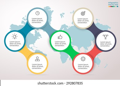 Infographics step by step. Universal abstract element of chart, graph, diagram with 7 options, parts, processes connected via bone. Vector business template for presentation and training.