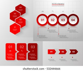Infographics step by step. Universal abstract elements of chart, graph, diagram with 3 and 4 steps, options, parts, processes. Red vector business template for presentation and training.