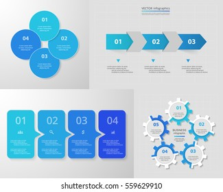 Infographics step by step. Universal abstract elements of chart, graph, diagram with 3, 4 and 5 steps, options, parts, processes. Blue vector business templates for presentation and training.