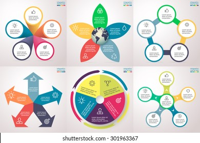 Infographics step by step in various forms. Set of charts, graphs, diagrams with 5 options, parts, processes, directions. Vector template for presentation and training.