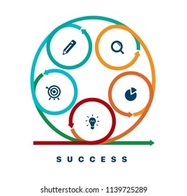 Infographics of success. Template business infographics with five steps to success. Business startup concept. Can be used for workflow layout, diagram, business step, banner, web design. Vector